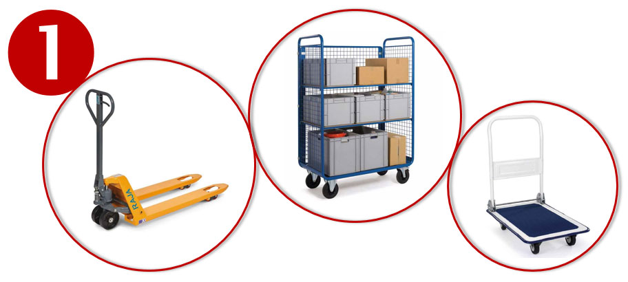 Verplaats je magazijngoederen efficiënt met transpalletten, rolcontainers, enz.