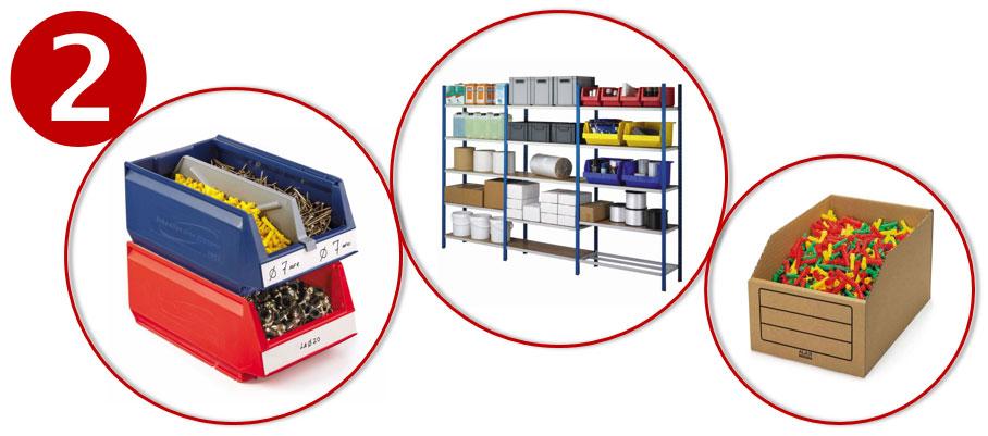 Sla je producten op in stapelbakken en magazijnbakken.