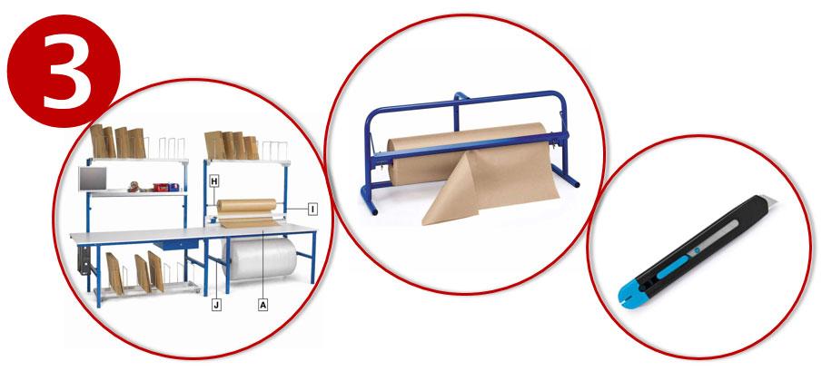 Verpak efficiënter dankzij paktafels, afrollers en cutters.
