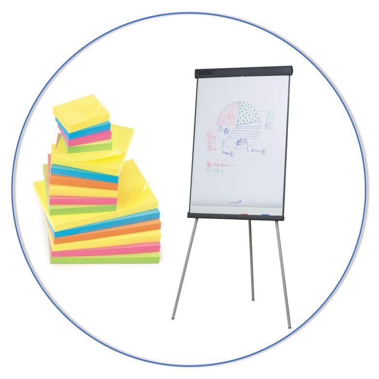 Plan en orden je taken met bijvoorbeeld whiteboards, flip-overs en post-it's.