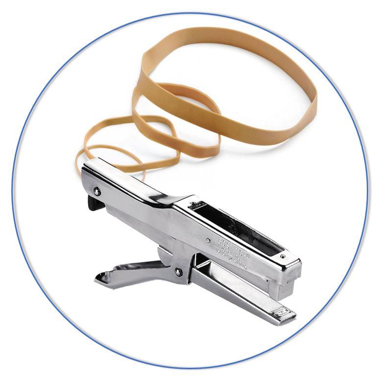 Bind en hecht losse spullen samen met bijvoorbeeld elastieken, nietmachines en inbindmachines.