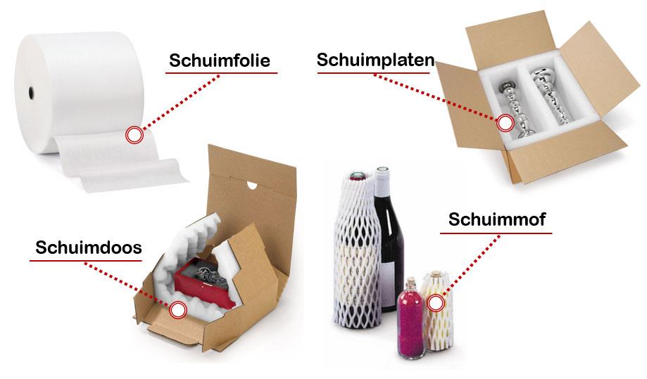 Verpakken met schuim: gebruik onder andere onze schuimfolie, schuimprofielen, schuimmoffen, schuimplaten en schuimdozen