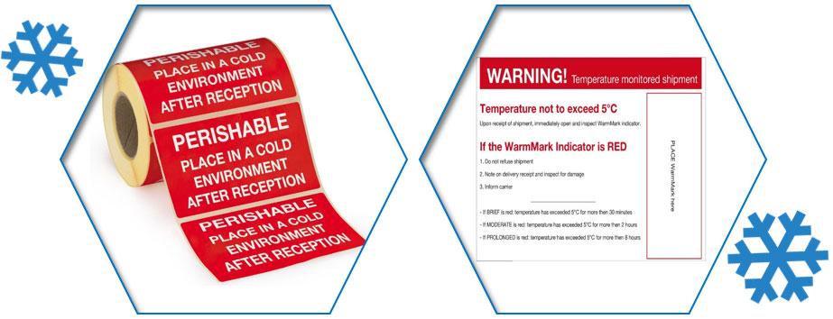Etiketten met waarschuwingsboodschap en waarschuwingslabels voor koeldozen.
