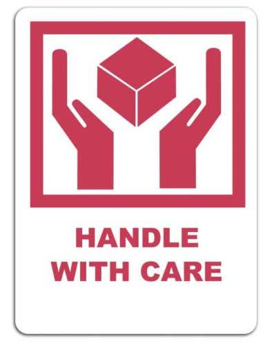 Manejar con cuidado, etiqueta con símbolo para embalaje handle with care