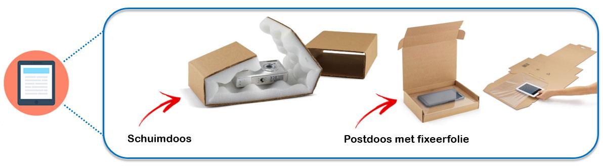 Verpak je electronica met een schuimdoos of een postdoos met fixeerfolie