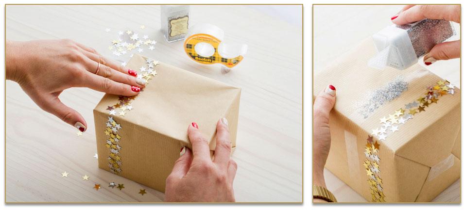 Verpak je cadeau origineel met sprankelende plakband.