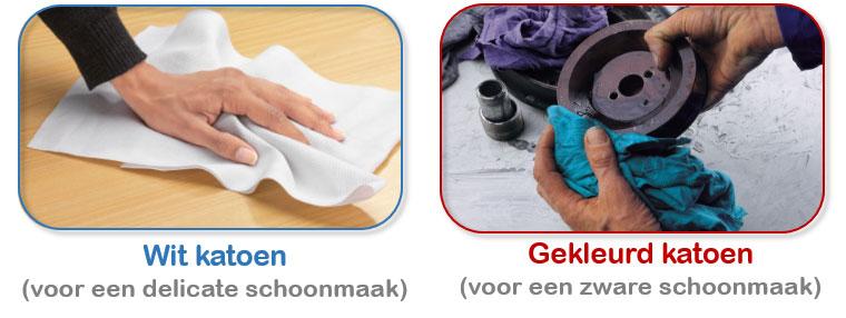 Wit versus gekleurd katoen voor poetsdoeken