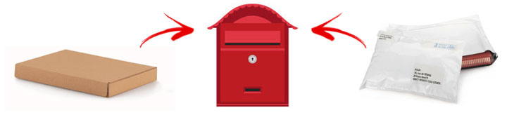 Brievenbusdoosjes voor leveringen in een brievenbus