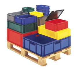 gekleurde euronorm stapelbak voor rolcontainers