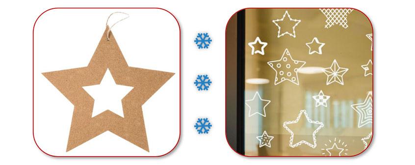 Kerst raamdecoratie van karton