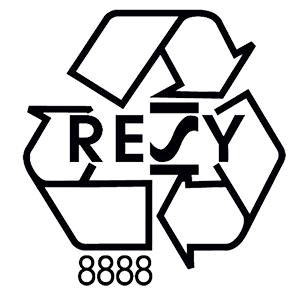 RESY symbool voor verpakkingen van papier of karton
